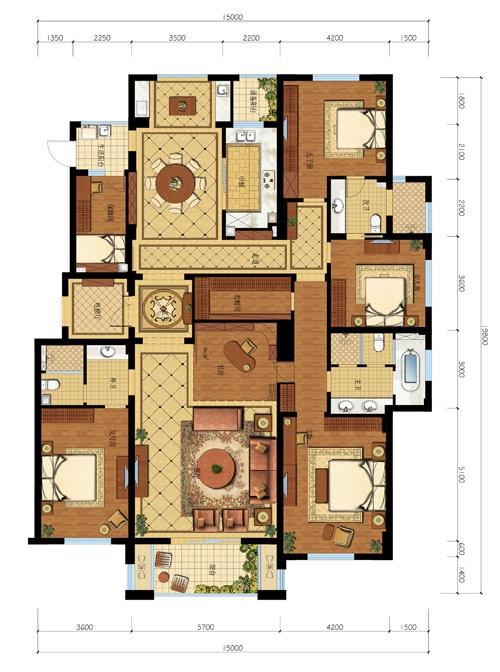 设计图分享 一层平顶五间房设计图  农村五间平房设计图纸及效果图