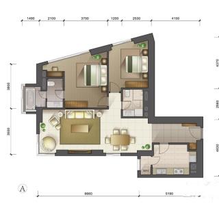 1-3号楼标准层A户型