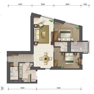 1-3号楼标准层B户型