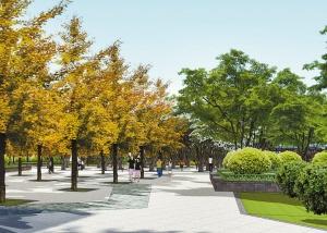 新淮海西路绿地施工装修入口树阵广场,组团绿化,花坛座椅,树阵广场机房拆除建造规划组织设计图片