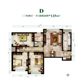 一期D户型3室2厅1卫1厨