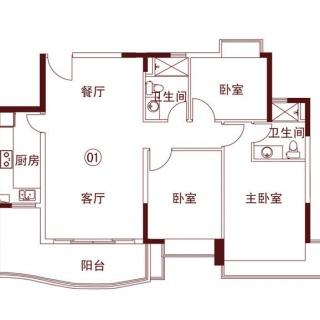 S1型01单位122㎡3房2厅1厨