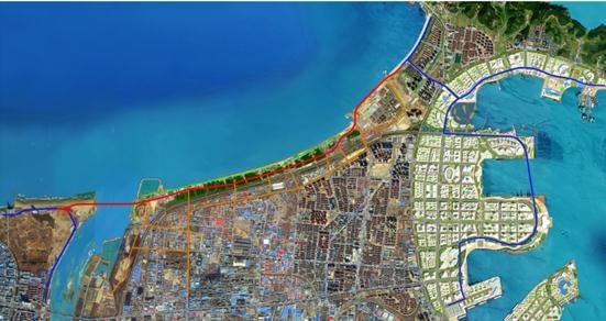 3公里,横跨幸福海岸与开发区滨海路通过跨海大桥相连,累计投资约10