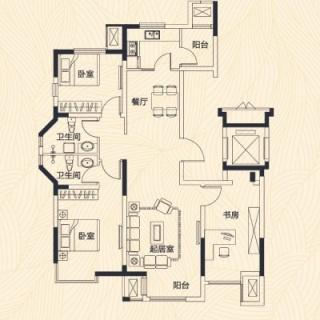洋房2-6号楼标准层D户型