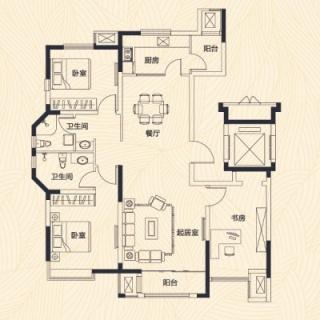 洋房3、4、5号楼标准层F户型