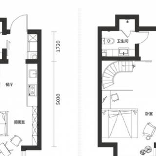 一期高层标准层一室80平户型