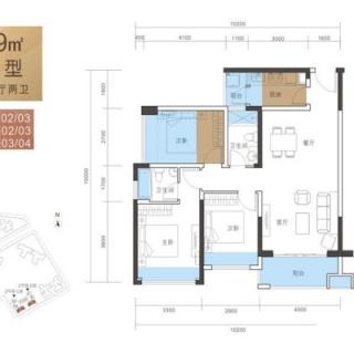 A户型89平3房2厅2卫