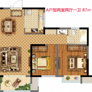 18街区A户型两室两厅一卫87平米