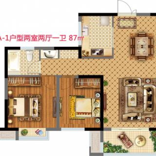 18街区A-1户型两室两厅一卫87平米