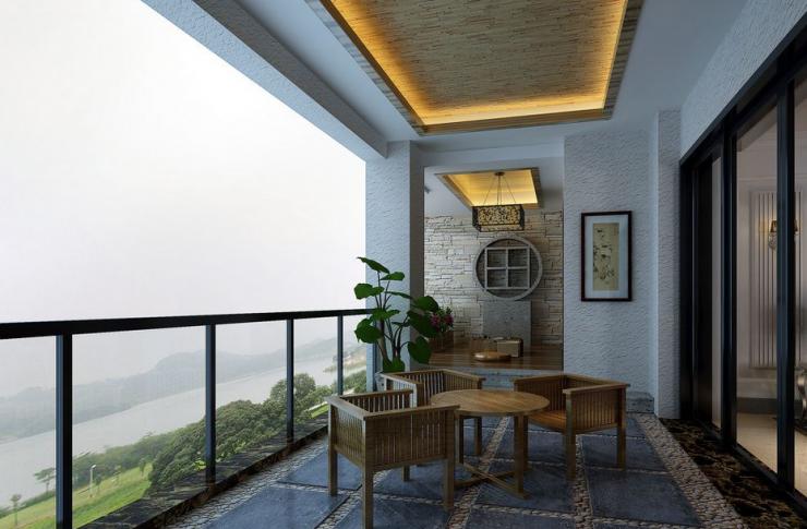 欧式风格:欧式装修大方,豪华,在阳台上简单摆放精致的桌椅,深色为主