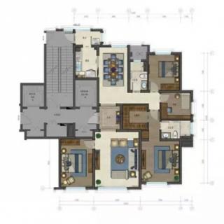 一期高层标准层四室户型