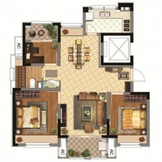 78平2室2厅1厨1卫C户型