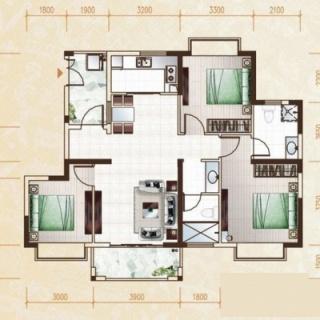 柏林园3房户型3室2厅2卫