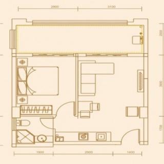 57.39平米一房两厅一卫