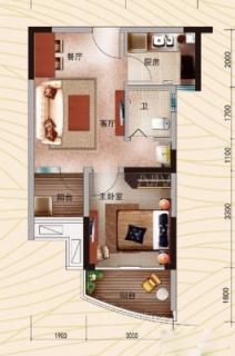 B户型 1房2厅(52.88㎡)