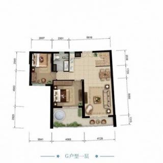 海景公寓G一层户型图