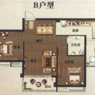 B户型2厅2房1卫