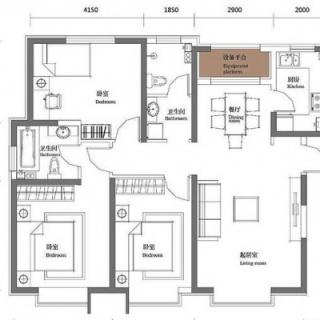 二期5、9#标准层银角128平三居户