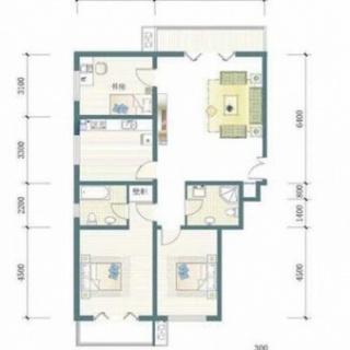 一期7号楼标准层A户型图