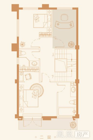 联排别墅145㎡户型二层户型图
