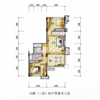 43栋(二层)D2户型复式上层