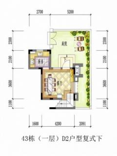 43栋(一层)D2户型复式下层