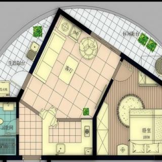 B号楼F1户型1房2厅