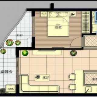A号楼C户型1房2厅