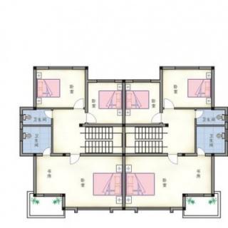 双拼别墅二层平面图