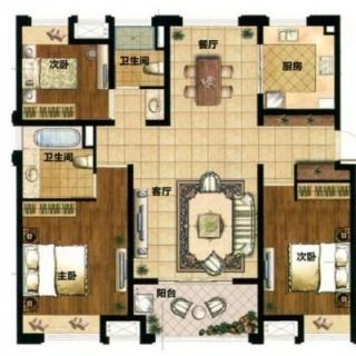 128平3房户型