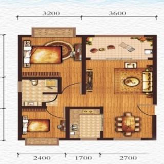 A2户型两房两厅一卫