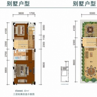 164㎡双拼别墅三层、顶层户型