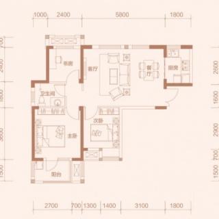 3-1户型, 3室2厅1卫, 约90.88平米