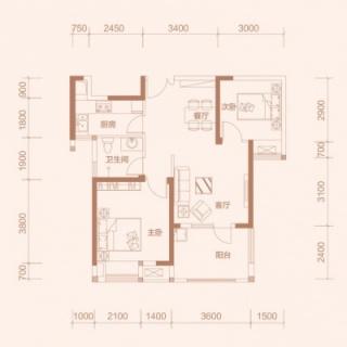 3-2户型, 2室2厅1卫, 约89平米