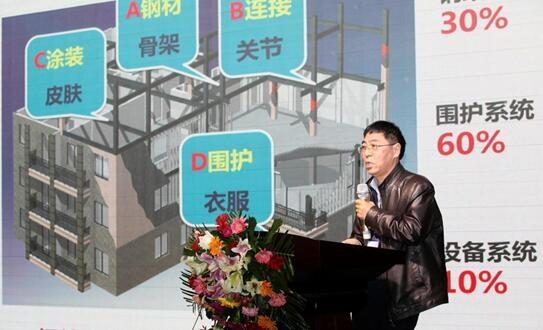 中国钢结构协会秘书长侯兆新发表主旨演讲 卓达集团作为国家住宅产业化基地,从国家产业政策和企业自身发展出发,通过自主研发和工程实践,在梳理现有装配式建筑技术体系基础上,主编《FR复合保温墙板应用技术规程》、《FR复合保温墙板建筑构造》,成功解决了装配式建筑围护墙体技术难题,填补了河北省技术标准体系空白,将加快河北装配式钢结构建筑的推广应用。