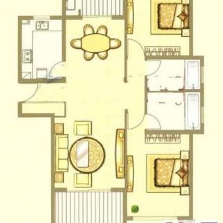 中鹰黑森林1号楼01户型 2室2厅