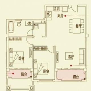 四期花园洋房E1户型图96.24㎡