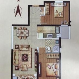 83平两室户型