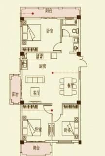 四期花园洋房D1户型图110.45㎡