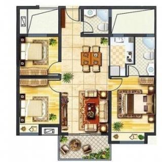 高层b户型三室两厅一厨两卫