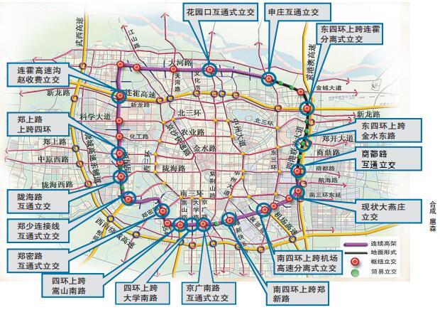 """郑州开启""""四环快速化""""时代 西,南,北三面设置高架桥图片"""