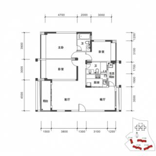 DT3-DT6栋A户型图