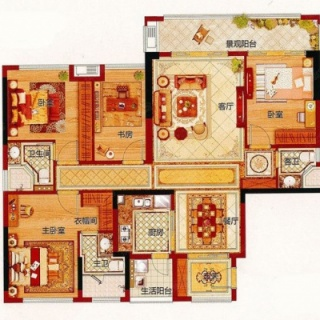 建面139平的四房户型