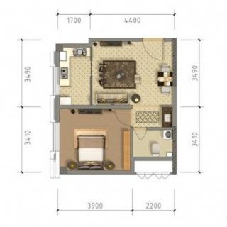 公寓6、7#标准层55平米户型