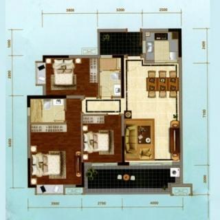 建面120㎡三房户型