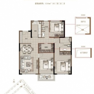 C3 124平米三室两厅两卫