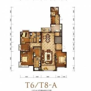 一期1号楼标准层T6/T8-A户型