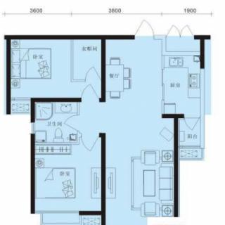 6号楼标准层2室户型
