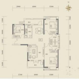 1号楼建面116平户型