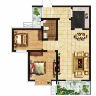 两室两厅一卫85㎡户型